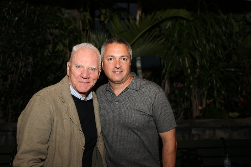 Carl with Malcolm McDowell, legendary actor and host of Fangoria's Dreadtime Stories